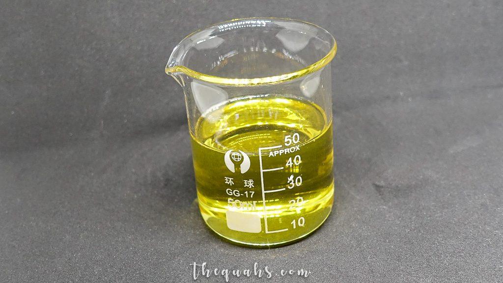 beaker with oil