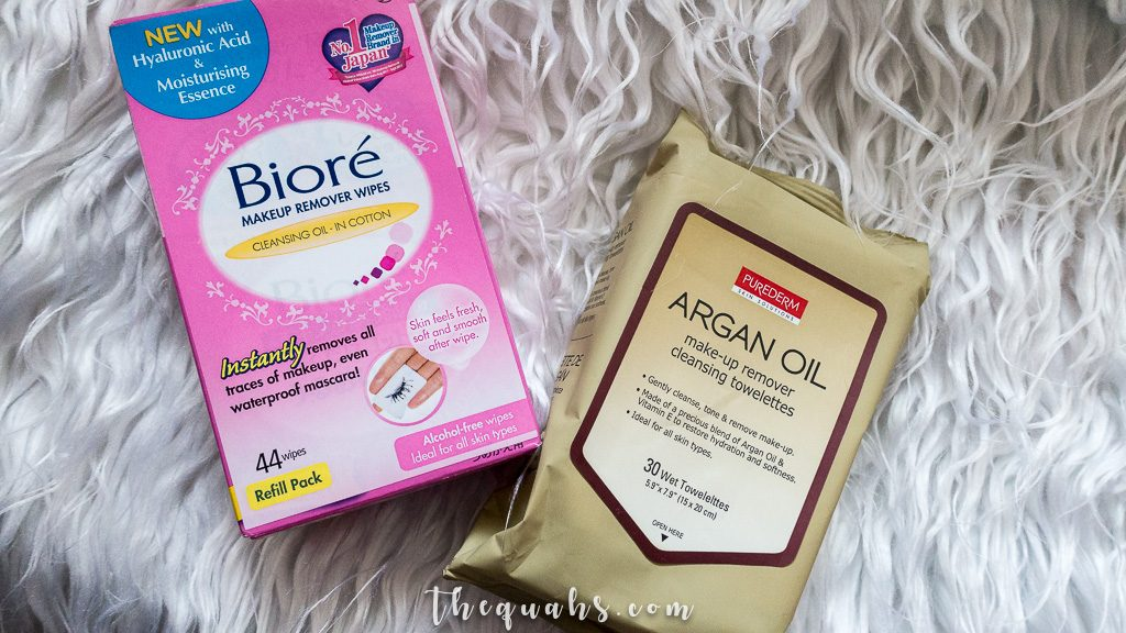 biore makeup remover wipes and purederm towelettes